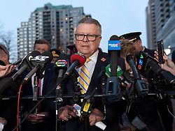"""Ralph Goodale, Federal Minister of Public Safety and Emergency Preparedness, speaks during a news conference in Toronto, ON, Canada on Monday, April 23, 2018. Nine people died and 16 others were injured when a van mounted a sidewalk and struck multiple pedestrians along a stretch of one of Toronto's busiest streets, authorities said Monday, calling it """"a horrific attack."""" Photo by Nathan Denette/CP/ABACAPRESS.COM"""