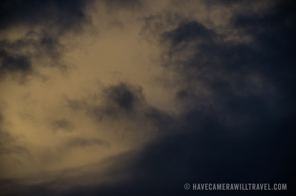 Dark clouds at dusk of a passing rain squall over Drake Passage between South America and Antarctica.