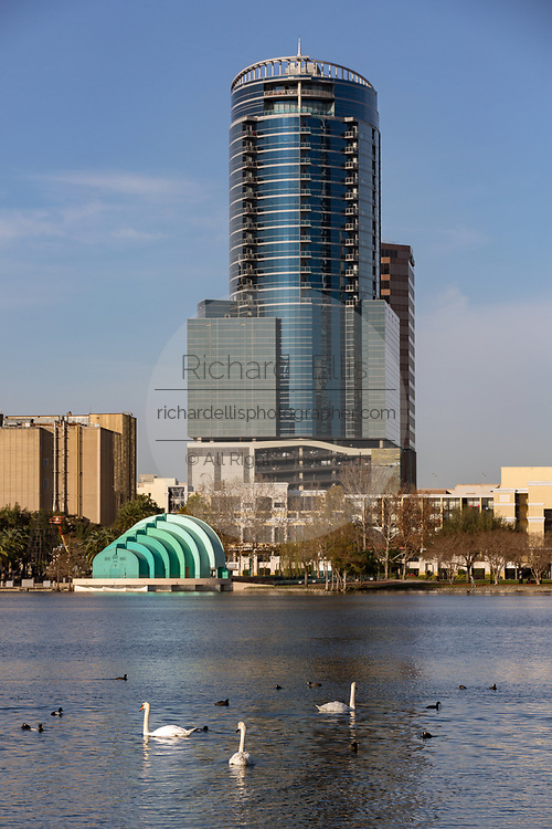 Skyline view over Lake Eola in Orlando, Florida. Lake Eola Park is located in the heart of Downtown Orlando and home to the Walt Disney Amphitheater.