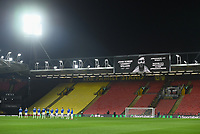 """Football - 2020 / 2021 Sky Bet Championship - Watford vs Queens Park Rangers - Vicarage Road<br /> <br /> A minute's applause for former Watford player """"Johnny Williams before the game.<br /> <br /> COLORSPORT/ASHLEY WESTERN"""