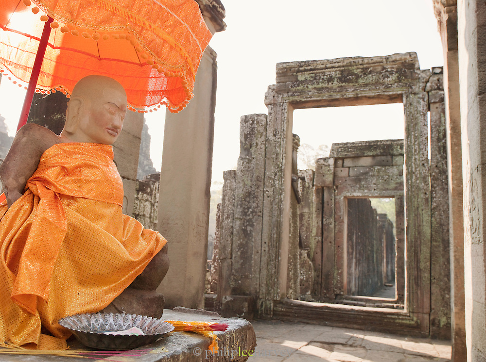 A Buddhist shrine in the Bayon temple at Angkor, Siem Reap Province, Cambodia