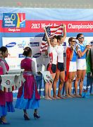 Chungju, South Korea.  Lightweight women's double sculls medals, Middle Gold medalist.  ITA LW2X. Bow. Laura MILANI and Elisabetta SANCASSANI, left Silver medalist, USALW2X. Kristin HEDSTROM and  Kathleen BERTKO. right Bronze medalist. GER LW2X.  Lena MUELLER and Anja NOSKE. 2013 FISA World Rowing Championships, Tangeum Lake International Regatta Course.16:14:47  Saturday  31/08/2013 [Mandatory Credit. Peter Spurrier/Intersport Images]