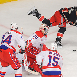 New York Rangers right wing Ryan Callahan (24) scores on a backhander rebound during first period NHL action between the Washington Capitals and the New York Rangers at Madison Square Garden in New York, N.Y.