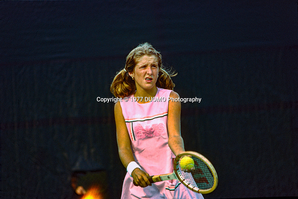 Tracy Austin (USA) competing at the 1977 US Open Tennis Championships at Forest hills, NY
