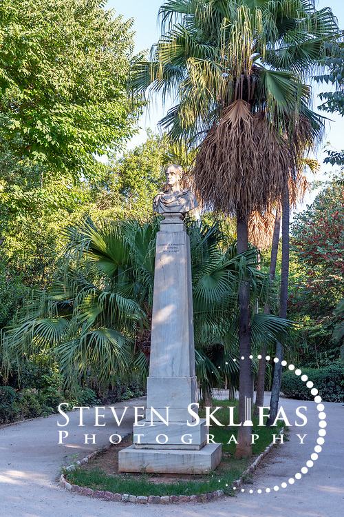 Athens. Greece. View at the National Gardens of the 19th century statue of Ioannis Antonios Kapodistrias, first ruler of liberated Greece in 1828 after 400 years of Turkish occupation.