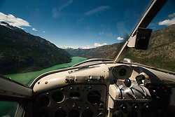 De Havilland Beaver Cockpit Above Lake Chelan, Lake Chelan National Recreation Area, North Cascades National Park, Stehekin, Washington, US, June 2007