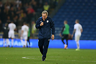 Cardiff City manager Neil Warnock celebrates at the end of the match after his team win 3-1. EFL Skybet championship match, Cardiff city v Leeds Utd at the Cardiff city stadium in Cardiff, South Wales on Tuesday 26th September 2017.<br /> pic by Andrew Orchard, Andrew Orchard sports photography.