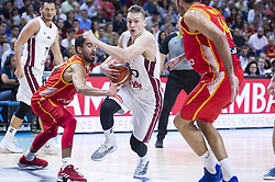 September 17, 2018 - Madrid, Spain - Jaime Fernandez and Pierre Oriola of Spain and Kaspars Vecvagars of Latvia during the FIBA Basketball World Cup Qualifier match Spain against Latvia at Wizink Center in Madrid, Spain. September 17, 2018. (Credit Image: © Coolmedia/NurPhoto/ZUMA Press)