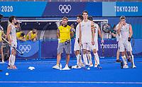 TOKIO - Spanning bij België met Felix Denayer (Bel) , Craig Fulton  tijdens de shoot outs na de hockey finale mannen, Australie-Belgie (1-1), België wint shoot outs en is Olympisch Kampioen,  in het Oi HockeyStadion,   tijdens de Olympische Spelen van Tokio 2020. COPYRIGHT KOEN SUYK