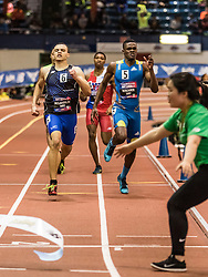 New Balance High School National Indoor Track & Field Championships: Boy's 400 final, collision at finish line with tape holder, Brown, Lyles, Benjamin, McLaughlin
