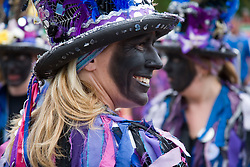 Colourful hat being worn by a Morris woman at the Cropredy Festival  Fairport's Cropredy Convention  2005