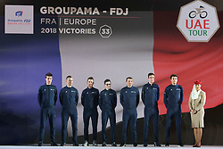 February 23, 2019 - Abu Dhabi, United Arab Emirates - Team Groupama - FDJ from France, during the Team Presentation, at the opening ceremony of the 1st UAE Tour, inside Louvre Abu Dhabi museum..On Saturday, February 23, 2019, Abu Dhabi, United Arab Emirates. (Credit Image: © Artur Widak/NurPhoto via ZUMA Press)