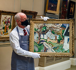 Pictured: Danny Mcilwraith holds onto<br /><br />A fabulous selection of paintings by the world-famous Scottish Colourists – Samuel Peploe, George Leslie Hunter, Francis Cadell and J.D Fergusson – lead the Bonhams Scottish Art sale.<br /><br />They include pictures from a fine private collection of Scottish Art led by Peploe's Still Life with Tureen and Fruit. Painted around 1926, Still Life with Tureen and Fruit shows the influence of the French Post-Impressionist master Paul Cézanne. Peploe's compositions were meticulously planned and executed, creating the dialogue between object and space for which he and his fellow Colourists were renowned  which is estimated at £120,000-180,000.<br /><br />Other Scottish Colourist works on show include:<br />Anemones in a Yellow Vase by George Leslie Hunter (1877-1931). Dating from the mid to late 1920s – a golden period for Hunter still lives – Anemones in a Yellow Vase shows the influence of Matisse on the artist's work. Estimate: £50,000-80,000.<br /><br />Gypsy in a Landscape by Peploe (1871-1935). Originally thought to be a portrait of Margaret, the artist's wife, dressed as a gypsy, the work painted around 1900 is now widely believed to depict one of the Blyth sisters, who were related to the kings of the Gypsies. Estimate: £60,000-80,000.<br /><br />Peonies in a Silver Vase by Peploe. In the 1890s, Peploe studied in Paris, where he was greatly influenced by the work of Edouard Manet, Jean-Baptiste-Camille Corot, Jean-Baptiste-Siméon Chardin and Gustave Courbet. During further training in Holland, he discovered the seventeenth-century Dutch painters, especially Frans Hals. From a distillation of these influences, he developed his own tonal style as seen in this work which he painted around 1897 shortly after he settled back in Edinburgh. Estimate: £60,000-80,000.<br /><br />Paris street scene by John Duncan Fergusson RBA (1874-1961). Between 1907 and 1914 Fergusson lived in Paris where he had moved in search of creative 