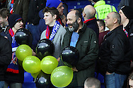Dagenham & Redbridge fans wait to release their balloons  prior to kick off. The Emirates FA cup, 3rd round match, Everton v Dagenham & Redbridge at Goodison Park in Liverpool on Saturday 9th January 2016.<br /> pic by Chris Stading, Andrew Orchard sports photography.