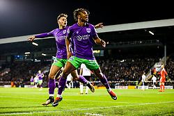 Bobby Reid of Bristol City celebrates with Josh Brownhill after scoring a goal to make it 0-1 - Rogan/JMP - 31/10/2017 - Craven Cottage - London, England - Fulham FC v Bristol City - Sky Bet Championship.