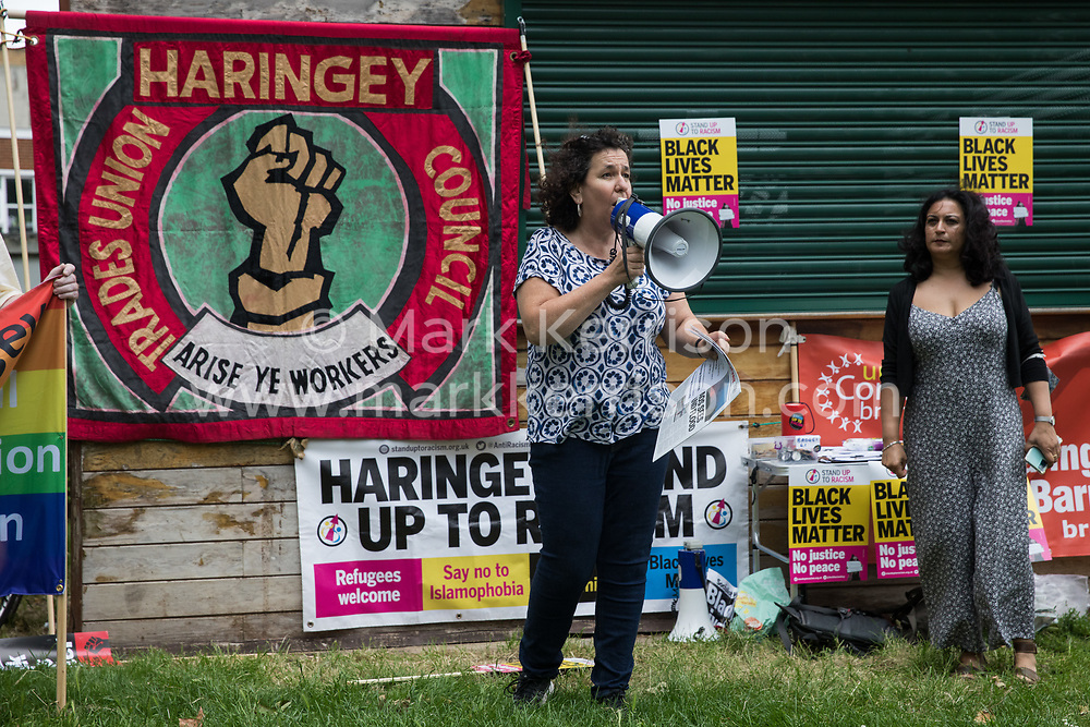 Anti-racist campaigners attend an event on Ducketts Common organised by Haringey Stand Up To Racism during which a knee was taken in solidarity with England footballers Marcus Rashford, Jadon Sancho and Bukayo Saka on 15th July 2021 in London, United Kingdom. The three England footballers were subjected to racial abuse following England's Euro 2020 final defeat against Italy.