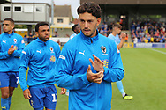 AFC Wimbledon defender Will Nightingale (5) and AFC Wimbledon striker Andy Barcham (17) walking out onto pitch prior to the game during the EFL Sky Bet League 1 match between AFC Wimbledon and Coventry City at the Cherry Red Records Stadium, Kingston, England on 11 August 2018.
