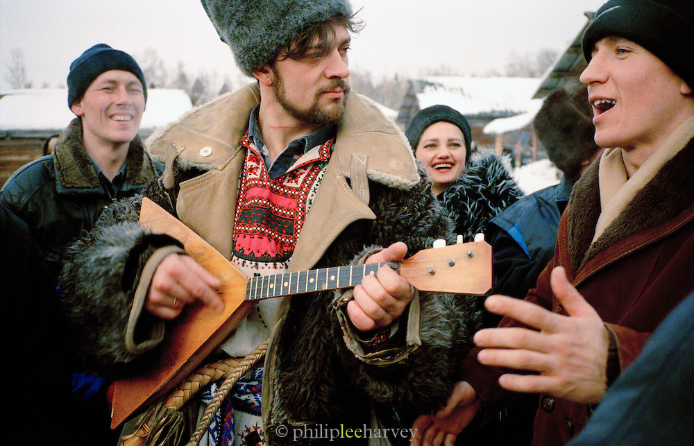 Musicians preforming at the Farewell to Winter Festival, Listyyanka, Siberia, Russia