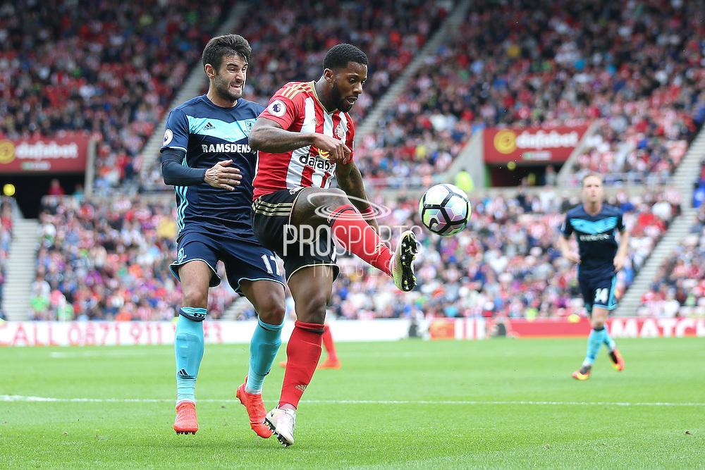 Sunderland forward Jeremain Lens (17) controls the ball  during the Premier League match between Sunderland and Middlesbrough at the Stadium Of Light, Sunderland, England on 21 August 2016. Photo by Simon Davies.