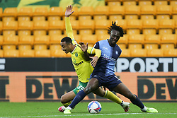 Adam Idah of Norwich City and Anthony Stewart of Wycombe Wanderers tussle for the ball - Mandatory by-line: Arron Gent/JMP - 24/10/2020 - FOOTBALL - Carrow Road - Norwich, England - Norwich City v Wycombe Wanderers - Sky Bet Championship
