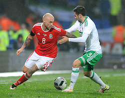 David Cotterill of Wales is tackled by Daniel Lafferty of Northern Ireland - Mandatory by-line: Dougie Allward/JMP - Mobile: 07966 386802 - 24/03/2016 - FOOTBALL - Cardiff City Stadium - Cardiff, Wales - Wales v Northern Ireland - Vauxhall International Friendly
