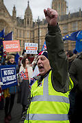 On the day that the UK Parliament once again votes on an amendment of Prime Minister Theresa May's Brexit deal that requires another negotiation with the EU in Brussels, far-right pro-Remain protesters gather outside the House of Commons, on 29th January 2019, in Westminster, London, England.