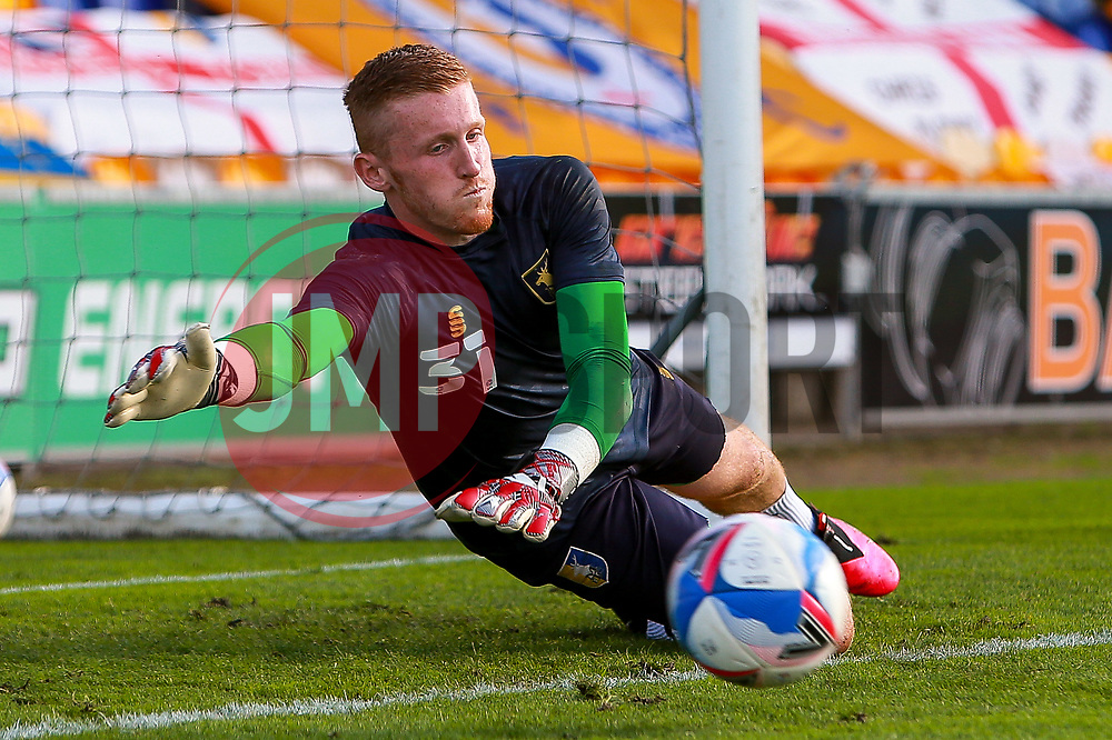 Aidan Stone of Mansfield Town dives to make a save waring warm up - Mandatory by-line: Ryan Crockett/JMP - 08/09/2020 - FOOTBALL - One Call Stadium - Mansfield, England - Mansfield Town v Manchester City U21 - Leasing.com Trophy