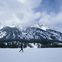 Grand Teton N.P., WY.Cross-country skiing near Jenny Lake.