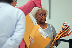Broward County Supervisor of Elections Brenda Snipes holds the first ballots to be hand counted in the senate race as counting begins at the Broward County Supervisor of Elections office in Lauderhill on Friday, November 16, 2018. Photo by Amy Beth Bennett/South Florida Sun Sentinel/TNS/ABACAPRESS.COM