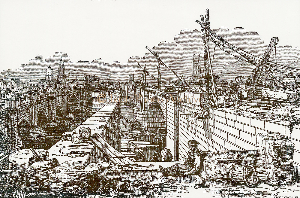 'View of the new London Bridge whilst under construction which was begun in 1824 and finished in 1831. Engineer: John Rennie (1761-1794) Scottish civil engineer. Woodcut, 1832.'
