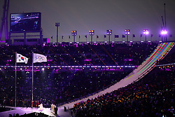 February 9, 2018 - PyeongChang, South Korea - Korean Opera singer SU-MI HWANG sings the Olympic Anthem during the Opening Ceremony for the 2018 Pyeongchang Winter Olympic Games, held at PyeongChang Olympic Stadium. (Credit Image: © Scott Mc Kiernan via ZUMA Wire)