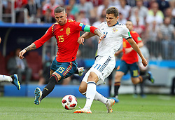 July 1, 2018 - Moscou, Rússia - MOSCOU, MO - 01.07.2018: SPAIN VS RUSSIA - Sergio RAMOS of Spain and Roman ZOBNIN of Russia during the match between Spain and Russia, valid for the Eighth Finals of the 2018 World Cup held at the Luzhniki Stadium in Moscow, Russia. (Credit Image: © Rodolfo Buhrer/Fotoarena via ZUMA Press)