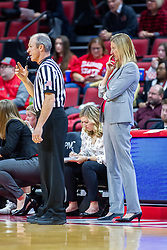 NORMAL, IL - January 05: Bill Larance stands near the Redbird bench and Kristen Gillespie during a college women's basketball game between the ISU Redbirds and the Purple Aces of University of Evansville January 05 2020 at Redbird Arena in Normal, IL. (Photo by Alan Look)