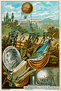 Jean-Marie Coutelle, Appointed Commander of Les Aerostiers, 1794.  Below right, varnishing balloon at School of Military Ballooning, Meudon. Background: Soldiers transporting inflated balloon l'Entreprenant. French Aviatiion
