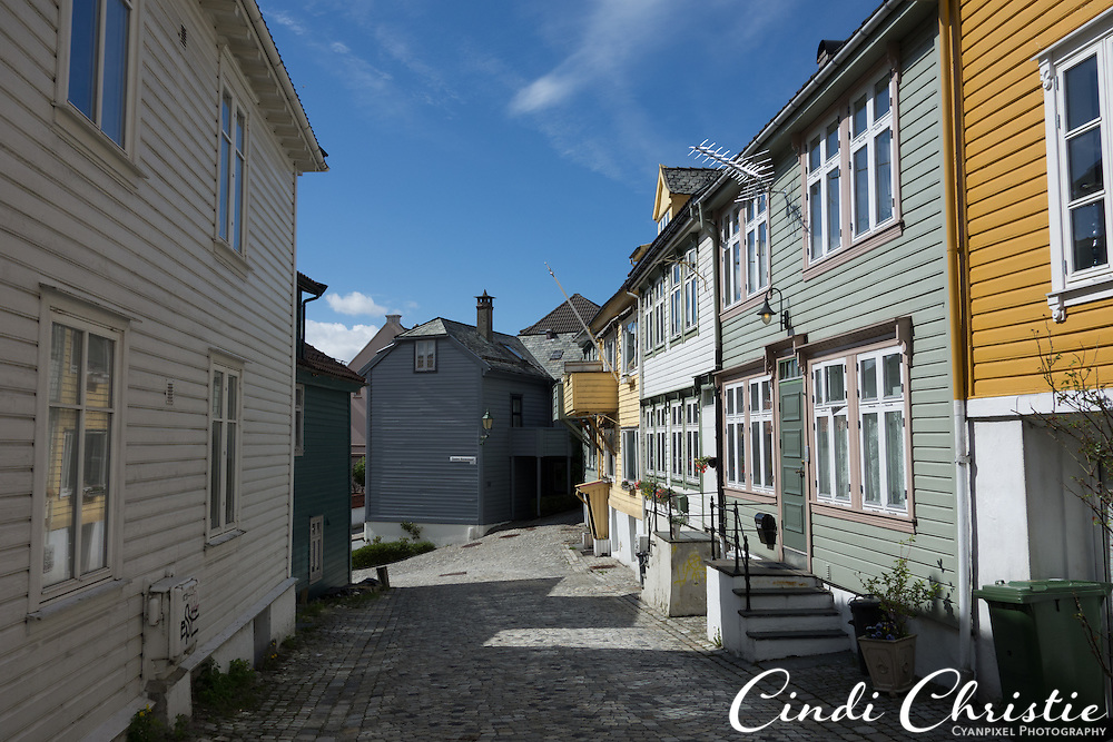 Cobblestone streets and wooden houses characterize the residential neighborhood of Nedre Stølen in Bergen , Norway, on May 22, 2013.  (© 2013 Cindi Christie)