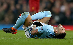 Manchester City's Nicolas Otamendi goes down from a challenge during the UEFA Champions League, Quarter Final at the Etihad Stadium, Manchester.