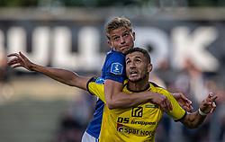 Frederik Winther (Lyngby Boldklub) og Imed Louati (Hobro IK) under kampen i 3F Superligaen mellem Lyngby Boldklub og Hobro IK den 20. juli 2020 på Lyngby Stadion (Foto: Claus Birch).