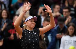 May 30, 2019 - Paris, FRANCE - Amanda Anisimova of the United States celebrates winning her second-round match at the 2019 Roland Garros Grand Slam tennis tournament (Credit Image: © AFP7 via ZUMA Wire)