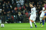 Christian Eriksen of Tottenham Hotspur  taking a shot at goal. UEFA Champions league match, group E, Tottenham Hotspur v CSKA Moscow at Wembley Stadium in London on Wednesday 7th December 2016.<br /> pic by John Patrick Fletcher, Andrew Orchard sports photography.