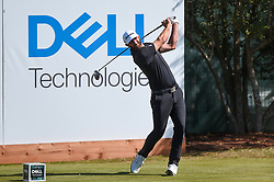 March 21, 2018 - Austin, TX, U.S. - AUSTIN, TX - MARCH 21: Dustin Johnson hits a tee shot during the First Round of the WGC-Dell Technologies Match Play on March 21, 2018 at Austin Country Club in Austin, TX. (Photo by Daniel Dunn/Icon Sportswire) (Credit Image: © Daniel Dunn/Icon SMI via ZUMA Press)