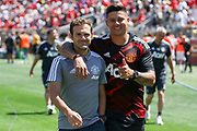 Manchester United Midfielder Juan Mata and Manchester United Defender Marcos Rojo during the AON Tour 2017 match between Real Madrid and Manchester United at the Levi's Stadium, Santa Clara, USA on 23 July 2017.