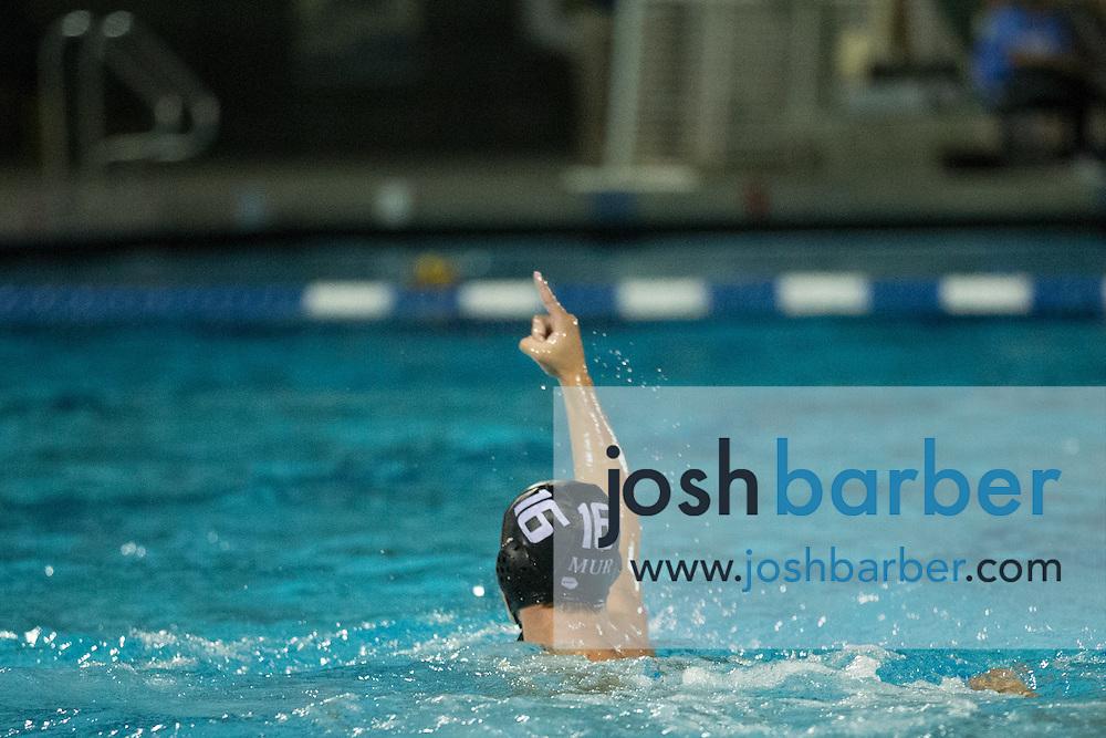 Murrieta Valley's Ian Fleenor (16) during the CIF-SS Division 3 Boys Water Polo Finals at Woollett Aquatic Center on Saturday, November 21, 2015 in Irvine, California. (Photo/Josh Barber)