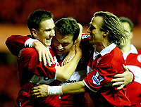 Fotball<br /> Premier League England 2004/2005<br /> Foto: BPI/Digitalsport<br /> NORWAY ONLY<br /> <br /> Middlesbrough v Manchester City<br /> Barcalys Premiership. 06/12/2004.<br /> <br /> Mark Viduka (Centre) celebrates his opener with Stewart Downing (L) and Bolo Zenden