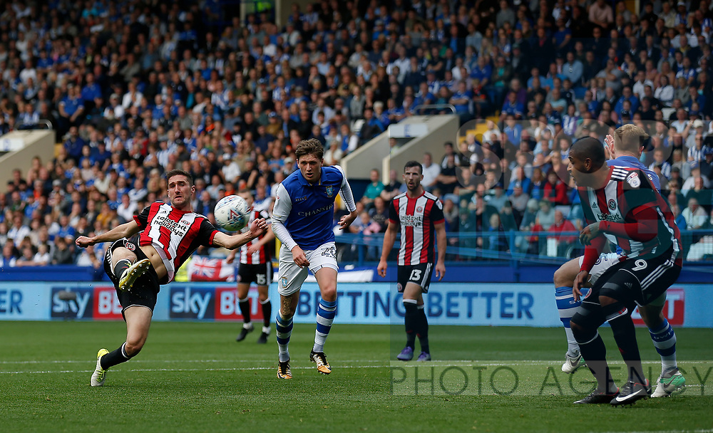 Chris Basham of Sheffield Utd attempt a volley during the Championship match at the Hillsborough Stadium, Sheffield. Picture date 24th September 2017. Picture credit should read: Simon Bellis/Sportimage