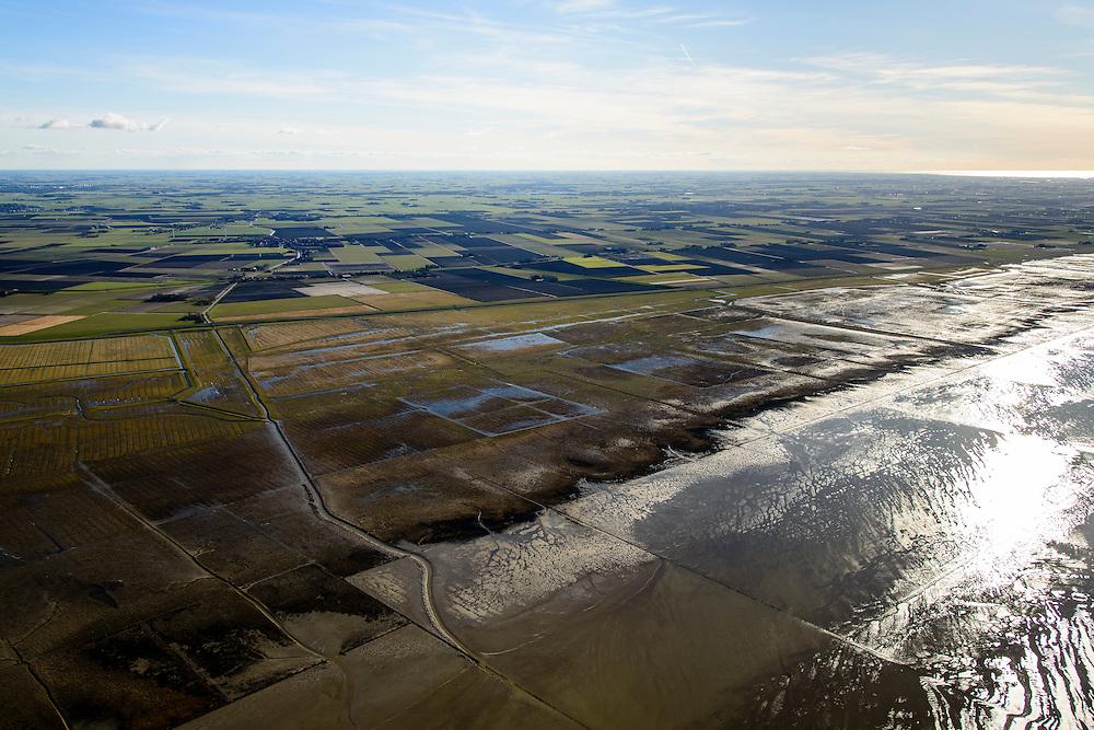 Nederland, Friesland, Gemeente het Bildt, 28-02-2016; buitendijks kweldergebied Het Noarderleech (NL: Noorderleeg), landaanwinning op de grens met het Friesche Wad.<br /> <br /> Land reclamation, Friese Wad, northern Friesland, tidal flat.<br /> <br /> luchtfoto (toeslag op standard tarieven);<br /> aerial photo (additional fee required);<br /> copyright foto/photo Siebe Swart