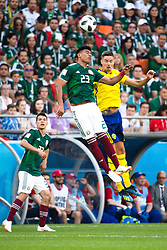 June 27, 2018 - Yekaterinburg, Russia - JESUS GALLARDO of Mexico and MIKHAIL LUSTIG of Sweden vie for a header during the FIFA World Cup group stage match between Mexico and Sweden in Yekaterinburg. (Credit Image: © Petter Arvidson/Bildbyran via ZUMA Press)