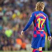 BARCELONA, SPAIN - August 25:  Antoine Griezmann #17 of Barcelona during the Barcelona V  Real Betis, La Liga regular season match at  Estadio Camp Nou on August 25th 2019 in Barcelona, Spain. (Photo by Tim Clayton/Corbis via Getty Images)