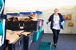 EDITORIAL USE ONLY Georgina Charlton, hospital co-ordinator, arranges crates of fruit and vegetable packages outside St Thomas' Hospital, which are destined for healthcare workers fighting the COVID-19 pandemic as Borough Market spearheads the national 'Feed The Frontline' campaign, London.