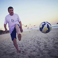 IOC President Thomas Bach playing beach soccer