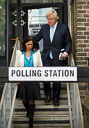 © London News Pictures. 07/05/2015. Mayor of London BORIS JOHNSON and his wife MARINE WHEELER leaving his local polling station in Islington, North London, after voting on the day that the UK goes to the polls in the 2015 general election. Photo credit: Ben Cawthra/LNP